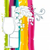 foto of alcoholic drinks  - Wine bottle glass branch of grape with leaves and rainbow stripes watercolor background with place for text - JPG