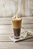 pic of frappe  - cold coffee with ice cream and caramel in a glass - JPG