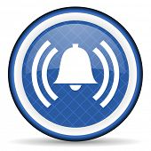 picture of blue-bell  - alarm blue icon alert sign bell symbol  - JPG