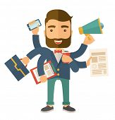 picture of multitasking  - A young happy hipster Caucasian with beard has six arms doing multiple office tasks at once as a symbol of the ability to multitask - JPG