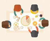 image of teamwork  - A meeting  of a business people sitting facing each other in the office with coffee and papers on the table in front of them - JPG