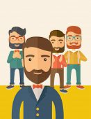 stock photo of winner  - Team of four happy hipster Caucasian business people with beard - JPG