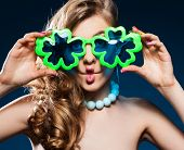stock photo of fool  - Cheerful female fooling around - JPG