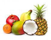 stock photo of tropical food  - Tropical fruits isolated on white background - JPG