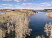 pic of horsetooth reservoir  - aerial view of Horsetooth Reservoir near Fort Collins Colorado - JPG