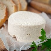 pic of cheese platter  - Rustic Style Goat Cheese with Bread close up square - JPG