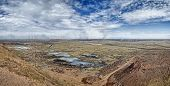 stock photo of mines  - views of the surrounding area with coal mine waste heaps Komsomol - JPG