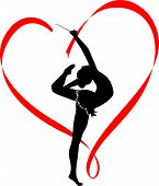 image of gymnastic  - silhouett Girl gymnast athlete vector logo sport - JPG