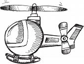 pic of helicopter  - Doodle Sketch Helicopter Vector Illustration Art - JPG