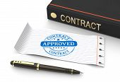 stock photo of covenant  - Stamp approved with contract document as concept - JPG