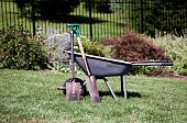 Wheelbarrow And Spades