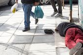picture of beggar  - THESSALONIKI GREECE MARCH 28 2015 - JPG