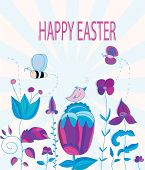 stock photo of butterfly-bush  - colorful Easter background with flowers bee butterfly and bird - JPG