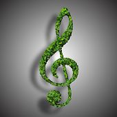 image of g clef  - Beautiful clef inscription made of green leaves on gradient background - JPG
