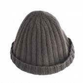 picture of knitted cap  - Black knitted head cap isolated over the white background - JPG