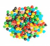 picture of foreshortening  - Pile of multiple colorful candy ball sweets isolated over the white background - JPG