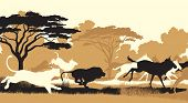 image of wildebeest  - Cutout illustration of lions chasing a herd of wildebeest - JPG