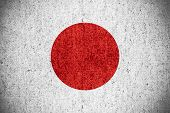 stock photo of japanese flag  - flag of Japan or Japanese banner on rough pattern texture - JPG