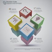 image of placeholder  - Perspective view of 3d decision cube made with 9 cubes on a light gray background - JPG