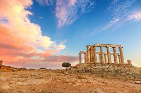 stock photo of poseidon  - Ruins of Poseidon temple - JPG