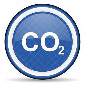stock photo of carbon-dioxide  - carbon dioxide blue icon co2 sign  - JPG