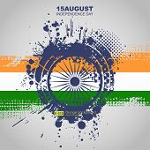 picture of indian independence day  - Creative Illustration for Indian Independence Day with tricolors and ashoka wheel - JPG