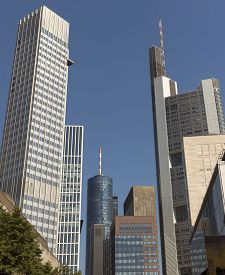 picture of frankfurt am main  - Skyscrapers of Frankfurt am Main. Frankfurt is the fifth-largest city in Germany. ** Note: Visible grain at 100%, best at smaller sizes - JPG