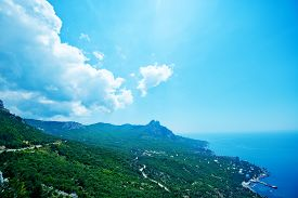 stock photo of crimea  - mountain and blue sky Crimea mountain nature in Crimea - JPG
