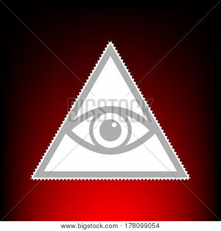 All seeing eye pyramid symbol. Freemason and spiritual. Postage stamp or old photo style on red-black gradient background.
