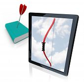 A modern tablet computer or e-reader displays a bow on its screen, having killed a traditional book