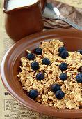 healthy breakfast of muesli with fresh berries