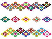 stock photo of parallelogram  - The symmetry ornament with different color parallelograms - JPG
