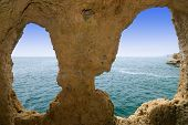 Natural rock formation at Algar Seco giving a view over the Mediterranean sea