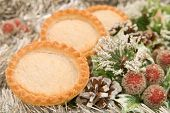 Festive seasonal mince pies in a Christmas setting