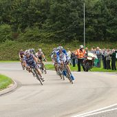 TELFORD, UK - SEPTEMBER 10: Tour of Britain Cycle Race - Lead Pack of Nine Riders During Stage 4, Ne