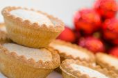 Mince pies in seasonal Christmas setting - shallow dof