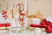 Party time at Christmas with champagne and decorations