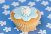 Celebration cake of baby boys birth or christening