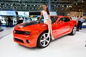 Moscow, Russia - August 25:  Red Sport Car Chevrolet Camaro At Moscow International Exhibition Inter