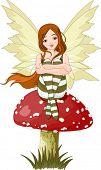 Illustration of forest fairy sitting on mushroom