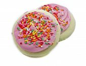 Two Pink And Sprinkles Sugar Cookies