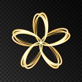 Gold Neon Abstract  Flower  Isolated On Black  Background. poster
