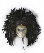 Venice carnival mask with black feathers, porcelain and gold