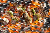 Grilled delicious kebabs over grill