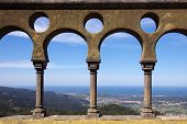 Arabic arch details of Pena Palace in Sintra, Portugal