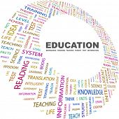 Education. Word collage on white background. Vector illustration. Illustration with different associ