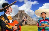 Mexican mariachi charro man and poncho Mexico girl Chichen Itza Pyramid