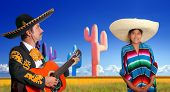 mariachi charro playing guitar mexican poncho girl cactus Mexico
