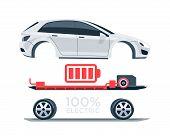 Постер, плакат: Electric Car Scheme Simplified Diagram Of Components