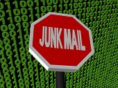 Stop Junk Mail Sign On Binary Code